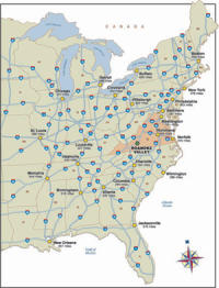 Eastern US road map