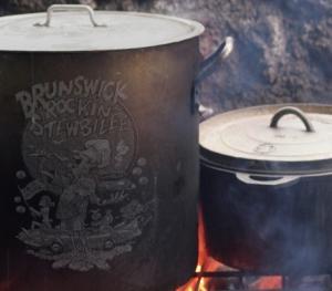 Pots and pans full of Brunswick Stew at Brunswick's Rockin' Stewbilee