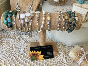 Some of Vicki Cox's jewelry available in the Classy Pearl Boutique, which is attached to Garden Gate Gift & Flower Shop.