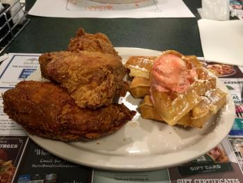Chicken and waffles at The Metro Diner. (We later learned that a half-order is available.)