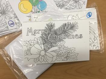 Christmas coloring cards at Gallery on the Square
