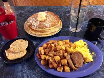 If you can finish all of this breakfast at Mayberry Cafe, I'll be impressed.