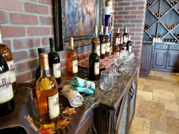 Bottles and glasses at Rosewood Winery in Pawnee Rock, KS