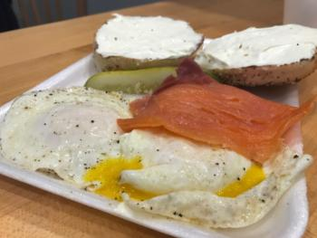 Lox, egg and cream cheese-topped bagel from Blocks Bagels