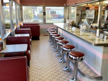 oasis diner, vintage decor, barstools