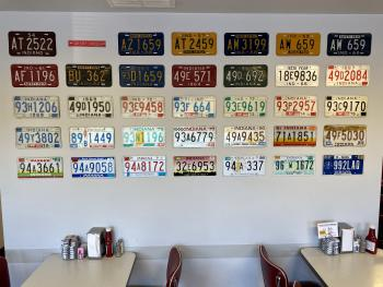 oasis diner, license plates, vintage decor