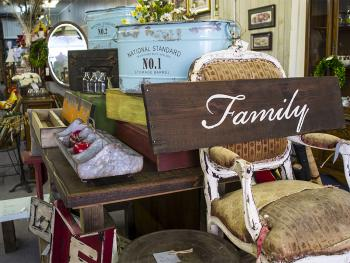 Vintage shopping items at Salvaged Heirlooms in Benson, NC.