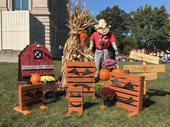 Scarecrows surround the Hendricks County Courthouse in Danville for the last weekend before Halloween!