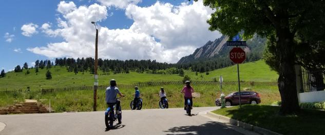 Group riding e-bikes in Boulder