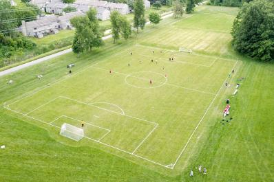 An aerial view of a soccer game at Plex North