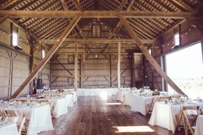 Wedding inside the barn.