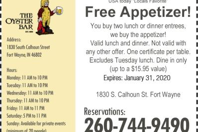 Free Appetizer when you buy two entrees