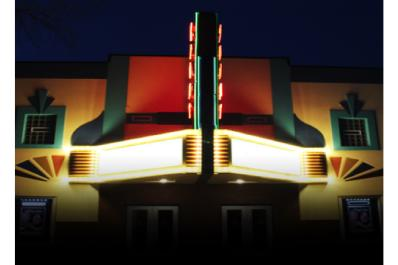 Court Street Theater marquee at night