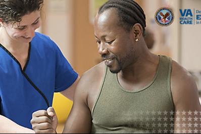 Doctor helping veteran