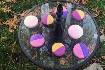 Painted and luster dusted Macarons