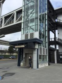 elevator to upper level of Link Light Rail Station in Seatac