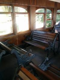 Interior of historic railroad passenger car at Northwest Train Museum in Snoqualmie Washington