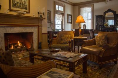 Sitting room and fireplace at The Lafayette Inn