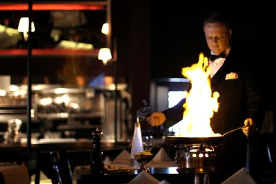 Tableside flambe at El Gaucho Tacoma