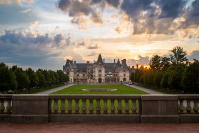 The sun sets behind the beautiful Biltmore in Asheville.
