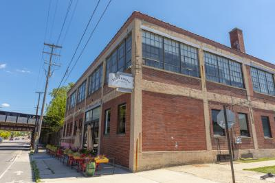 Storefront and patio at Strongwater Food & Spirits in Franklinton