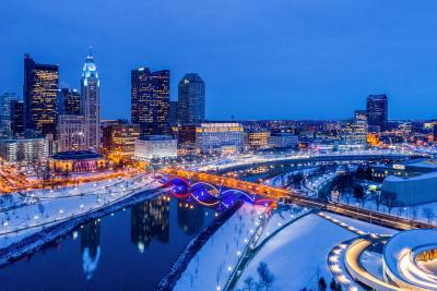 Columbus skyline in winter