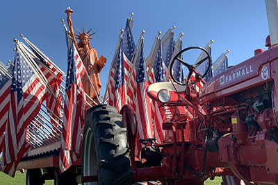 Farm-Tractor-Red-American Flags