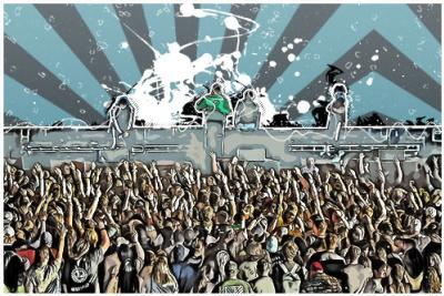 A digital drawing of concert-goers enjoying a live band in Irving.