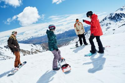 Learning to snowboard at The Remarkables Ski Field snow school
