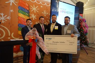 Rochester Hotel Association Scholarship Winner Brandon Schober Pictured with Hotel Association representatives