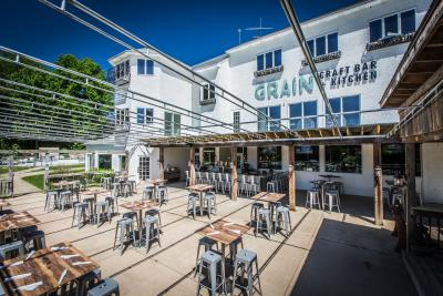 An image of the outdoor seating area at Grain H2O.