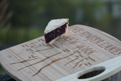 A slice of grape pie sits at the 12 scenic overlook