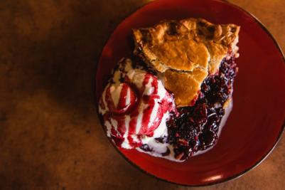 A slice of pie from Linn's Pie Shop in Cambria, CA