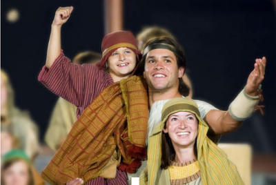 Actors pose for a photo during a show at the Hill Cumorah Pageant