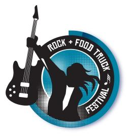 Rock & Food Trucks logl - silhouette of person holding electric guitar in outstretched hand