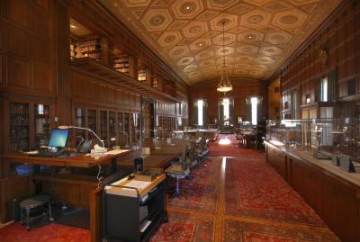 The wood-decorated reading room at the Clements Library