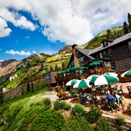 Alta Lodge patio during summer season