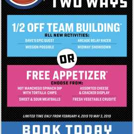 Special Events 1/2 off Team Building or Free Appetizer