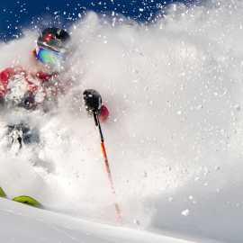 Sam Cohen enjoys another bluebird powder at Alta