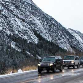 Vehicles up canyon