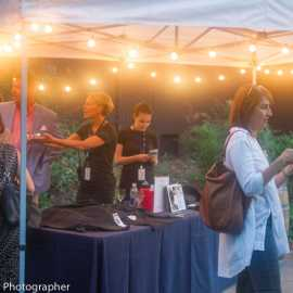 Tracey Thompson manning the merch tent