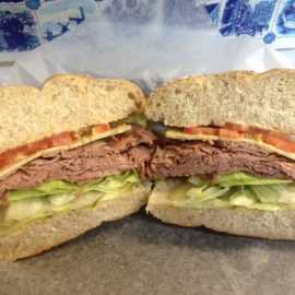 The Copenhagen; Roast Beef and Dill Havarti on a Wheat Rosette Bun, Sm. $6.10, Lg. $7.25
