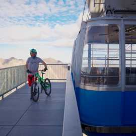 Getting off the tram for the Big Mountain Trail Ride, photo by Brant Hansen