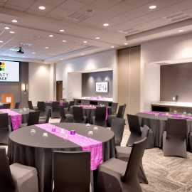 Banquet Space set with full Linens and Centerpieces