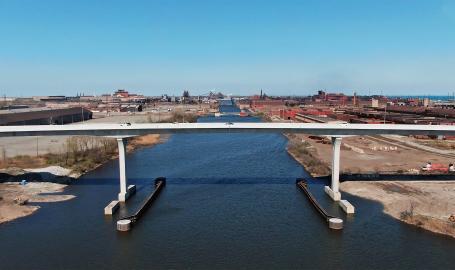 Cline Avenue Bridge Aerial Over Canal 2