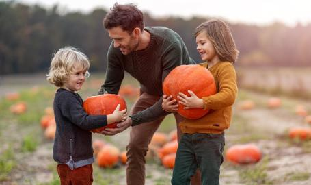 Picking pumpkins at Fair Oaks Farms