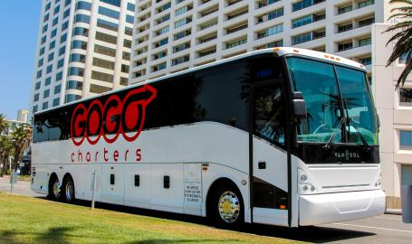 GoGo Charter Bus at hotel