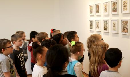 Children viewing art.