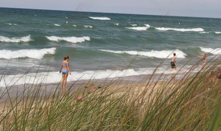 Indiana Dunes West Beach swimmers