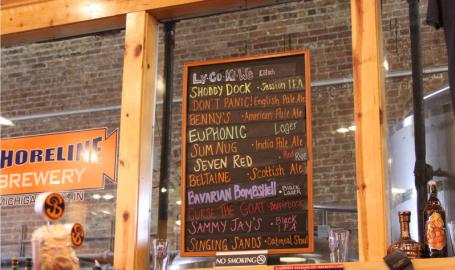 Board at Shoreline Brewery